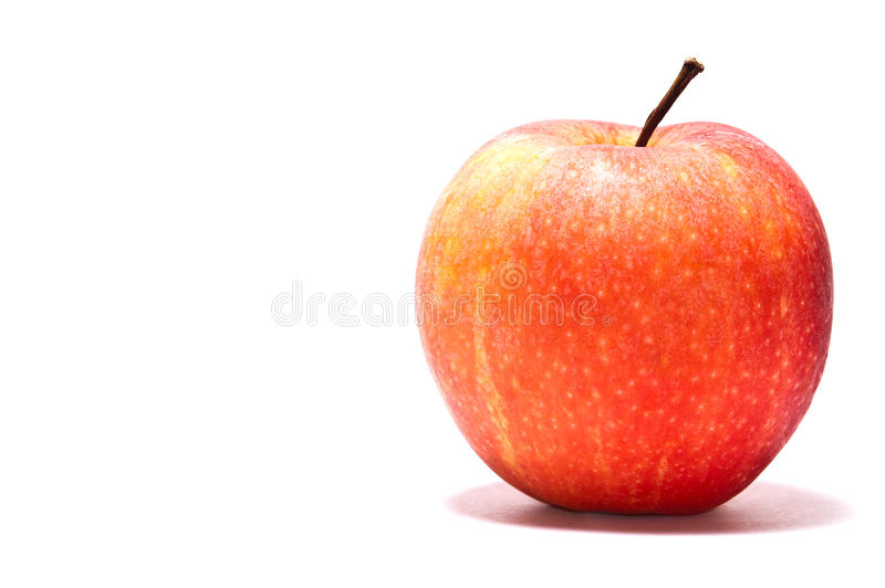 Rode appel op witte achtergrond stock foto's