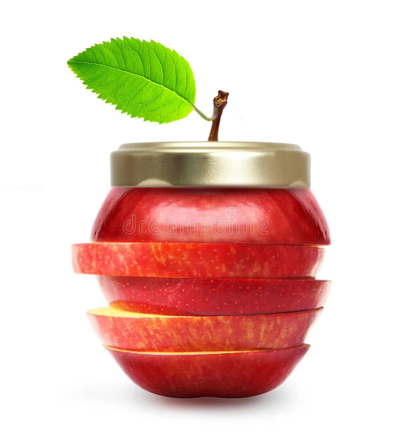 Rode appel zoals geïsoleerde jampot. stock afbeeldingen