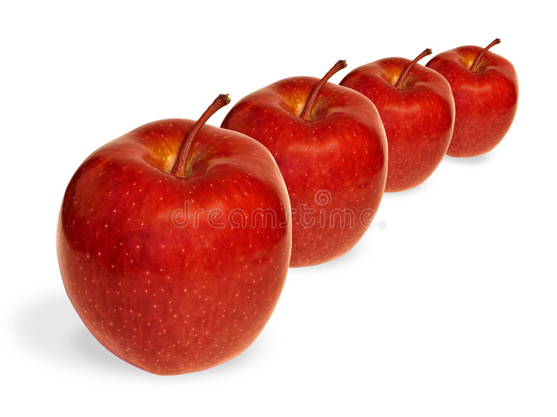 Rode appelen in een rij stock fotografie