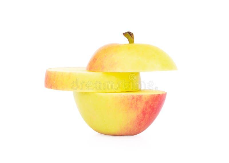 Rode appelplak die op witte achtergrond wordt geïsoleerd stock foto