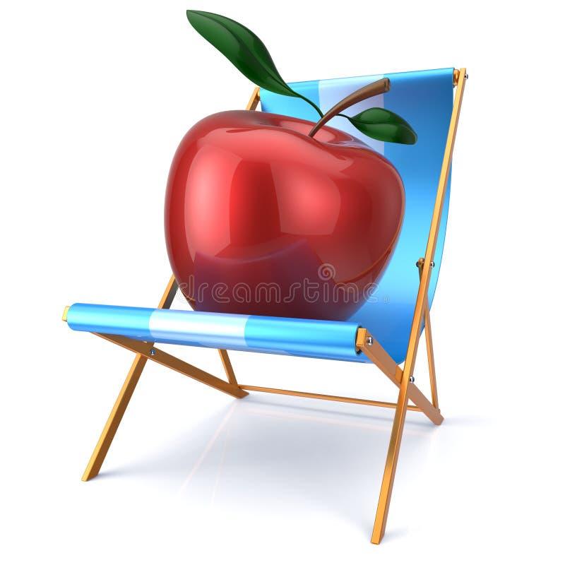Rode appelzitting in ligstoel vers gezond vegetarisch dieet stock illustratie