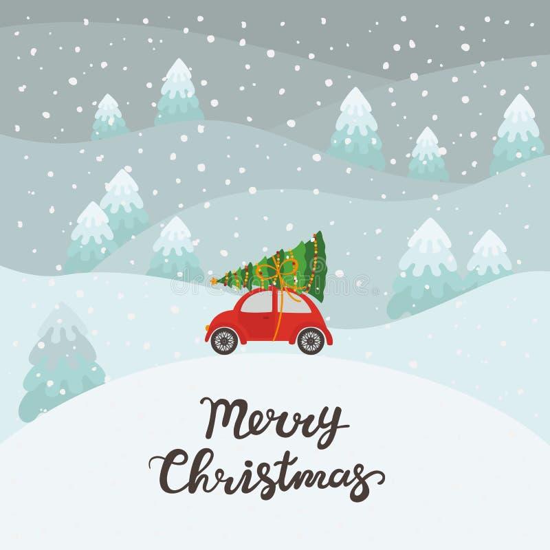 Rode auto met Kerstmisboom royalty-vrije illustratie