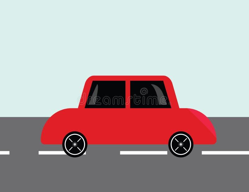 Rode auto met zwart windscherm op een teerweg royalty-vrije stock afbeelding