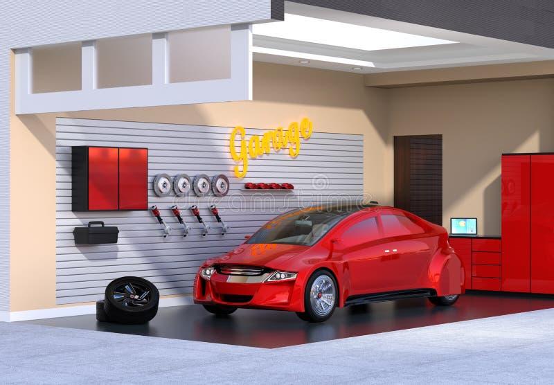 Rode auto in modieuze garage vector illustratie