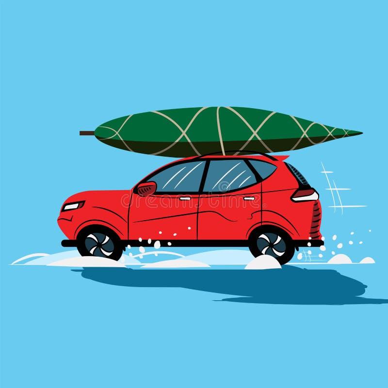 Rode auto Nieuwjaar Rode Auto op Blauwe Achtergrond pictogram schets Symbool teken De VectorIllustratie van de voorraad af:drukke vector illustratie