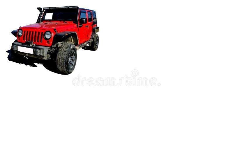 rode auto voor reis en toerisme in isolate met elektrisch hijstoestel, kant van het blad voor reclame stock fotografie