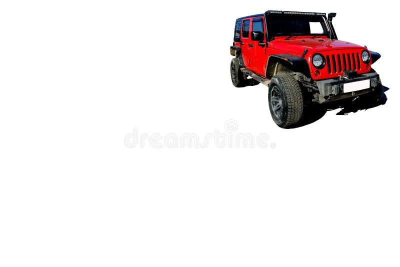 rode auto voor reis en toerisme in isolate met elektrisch hijstoestel, kant van het blad voor reclame stock afbeelding