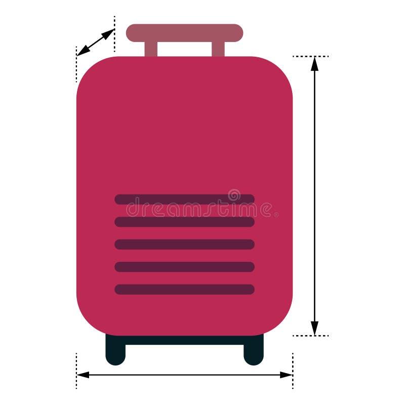 Rode bagage met pijlen die afmetingen tonen vector illustratie