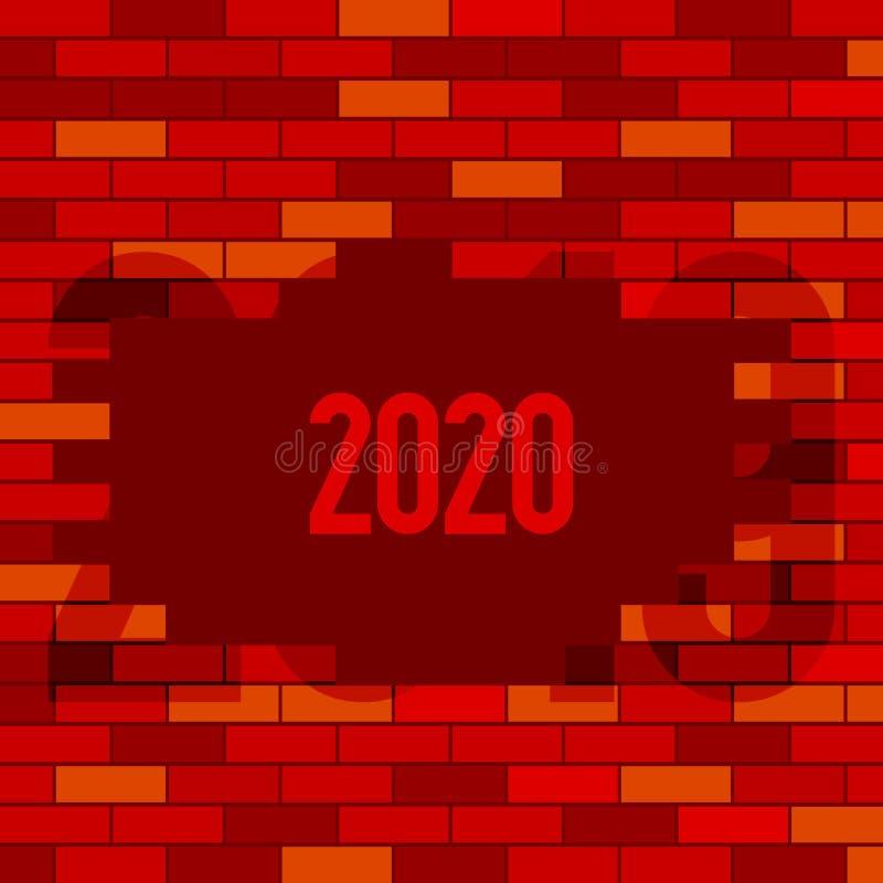 Rode Bakstenen muur Onderbrekingsmuur Vrolijke Kerstmis en gelukkig nieuw jaar 2020 Vector illustratie stock illustratie
