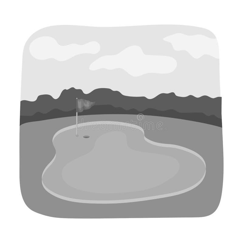 Rode bal op T-stuk, ondiepe DOF Golfclub enig pictogram in het zwart-wit Web van de de voorraadillustratie van het stijl vectorsy royalty-vrije illustratie