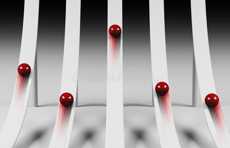 Rode ballen die upwards 3d rollen stock illustratie