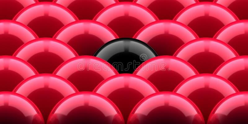Rode ballen en zwarte  royalty-vrije illustratie