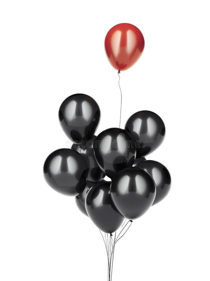 Rode ballon die wegvliegen het 3d teruggeven stock illustratie