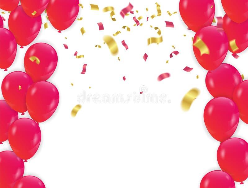 Rode ballons en confettienconceptontwerpachtergrond vector illustratie