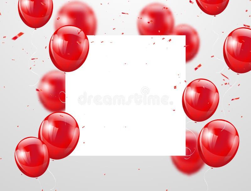 Rode ballons, vectorillustratie Confettien en linten, stock illustratie