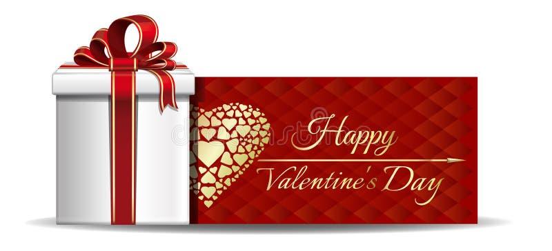 Rode banner met giftdoos voor Valentijnskaartendag royalty-vrije illustratie