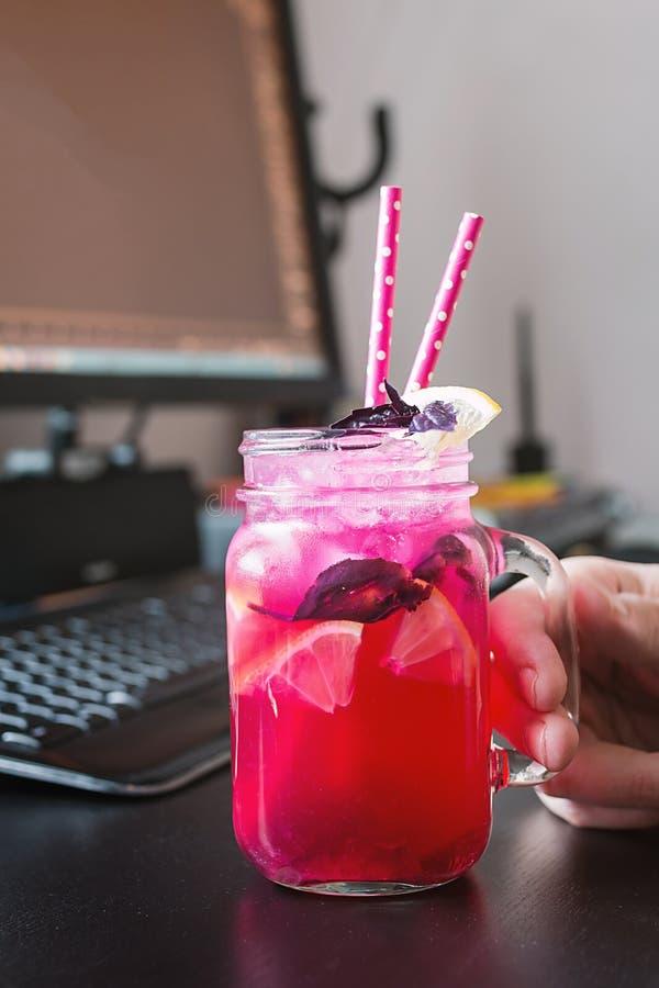 Rode basilicum eigengemaakte limonade stock foto