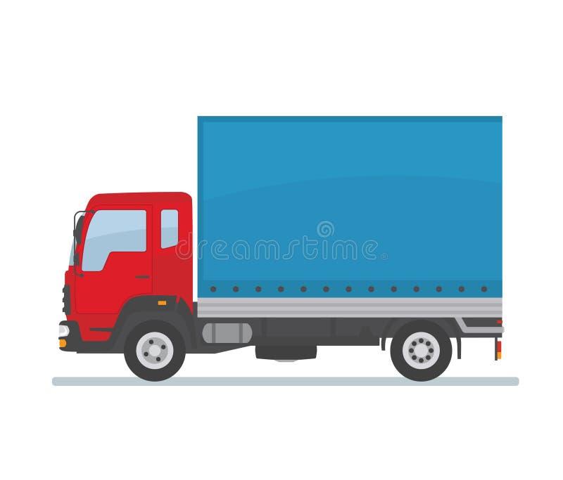 Rode behandelde die vrachtwagen op witte achtergrond wordt geïsoleerd Vervoersdiensten, logistiek en vracht van goederen stock illustratie