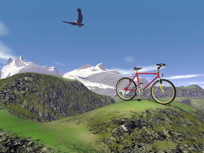 Rode 3D bergfiets - geef terug vector illustratie