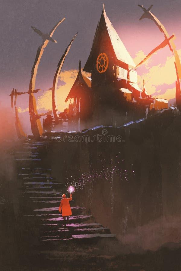 Rode berijdende kap die op treden aan het heksenkasteel beklimmen royalty-vrije illustratie