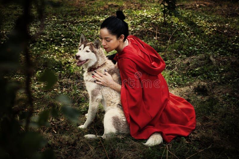 Rode Berijdende Kap en de Wolf stock afbeelding