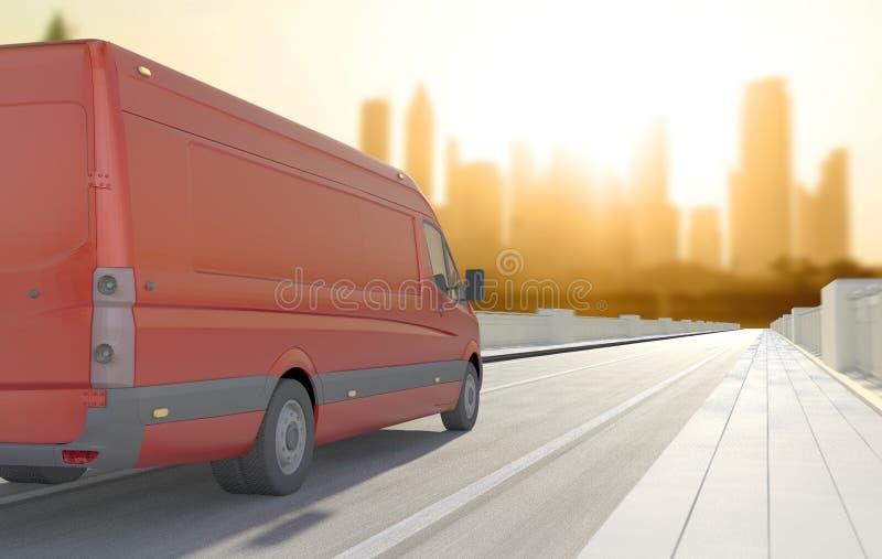 Rode bestelwagen in de weg stock foto's