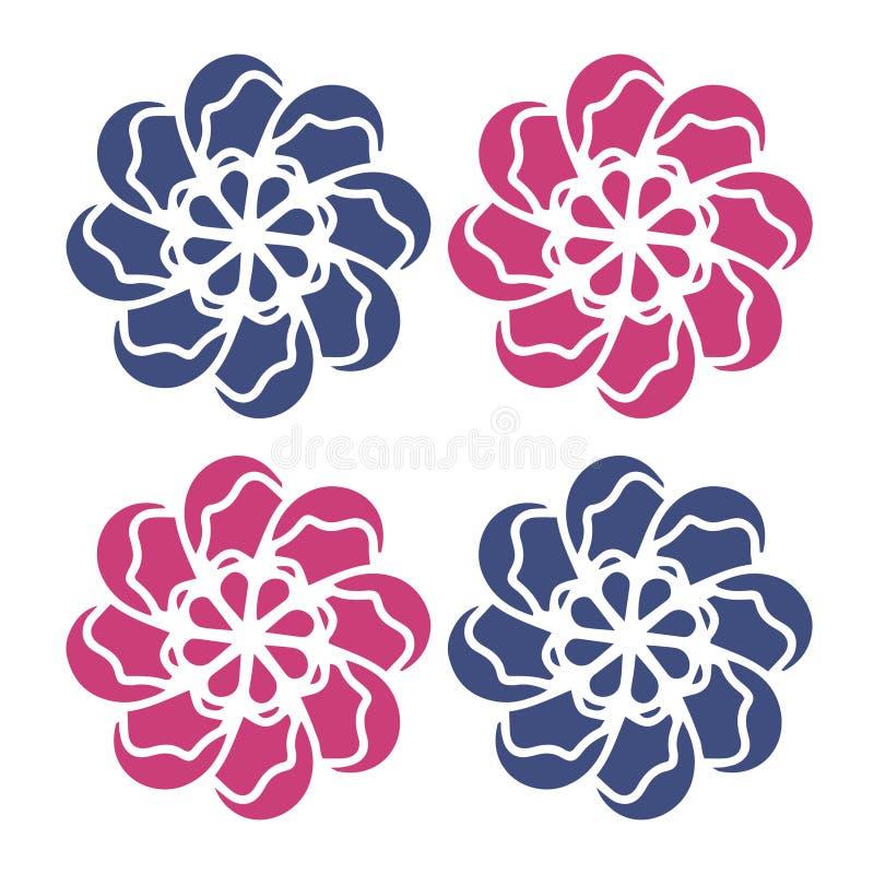 Rode blauwe Bloemenvector Goed voor embleem, grafisch ontwerp, patronen, pictogrammen, huwelijksmalplaatje, organisch concept, t- vector illustratie