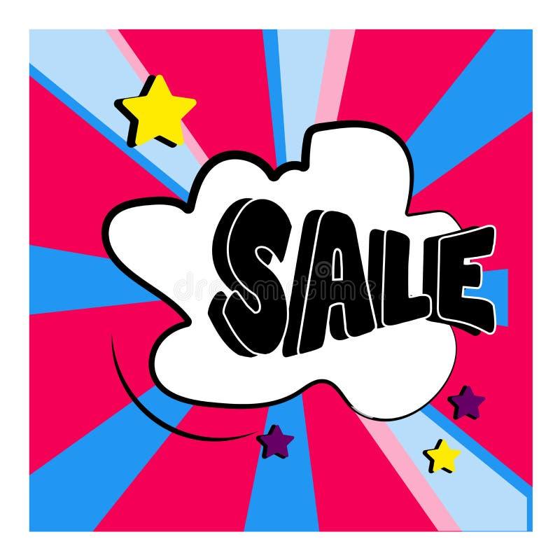 Rode blauwe bomachtergrond in een beeldverhaalstijl Het malplaatjeontwerp van de verkoopbanner Grote verkoopspeciale aanbieding S vector illustratie
