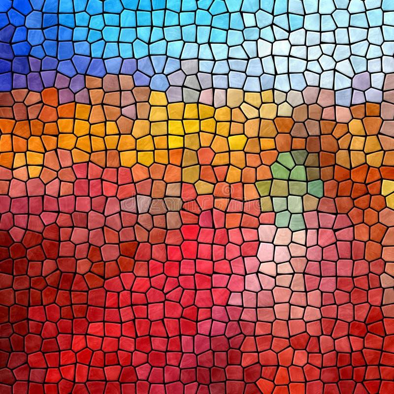 Rode blauwe de textuurachtergrond van het mozaïekpatroon met zwarte pleister stock illustratie