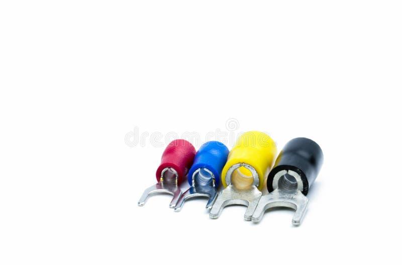 Rode, blauwe, gele en zwarte kleur van toebehoren van de de kabelschakelaar van spadeterminals de elektro met het knippen van weg stock fotografie