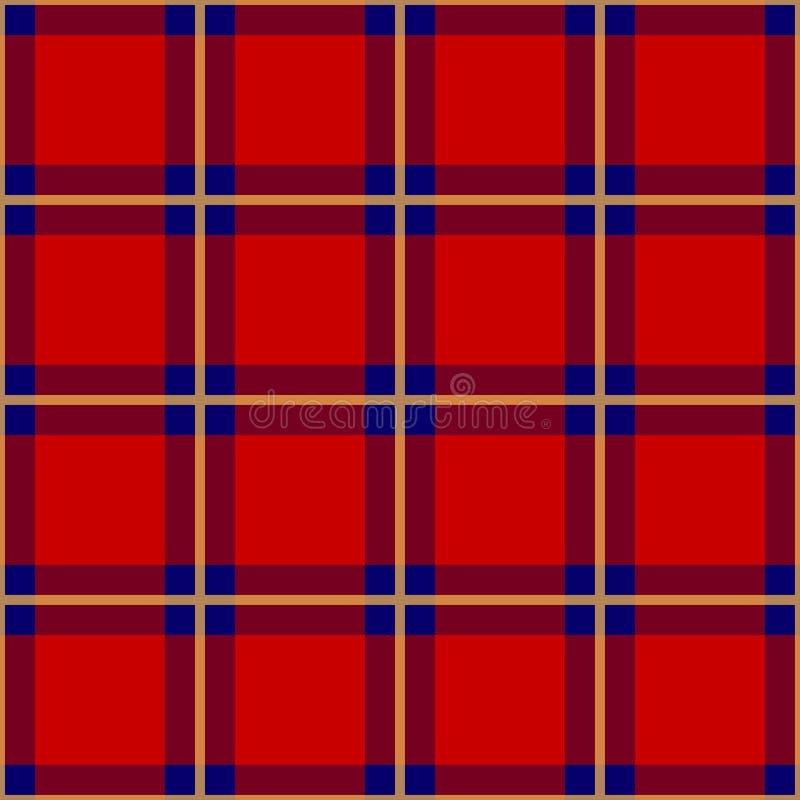 Rode Blauwe Gele Geruit Schots wollen stof Naadloze Achtergrond Vector illustratie royalty-vrije illustratie