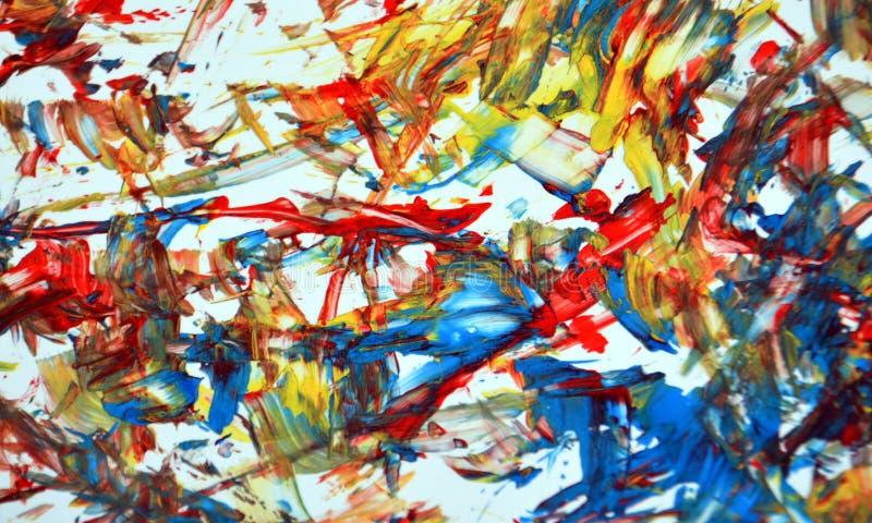 Rode blauwe gele gouden fosforescerende witte de verf acryl abstracte achtergrond, textuur en slagen van de contrastwaterverf van vector illustratie