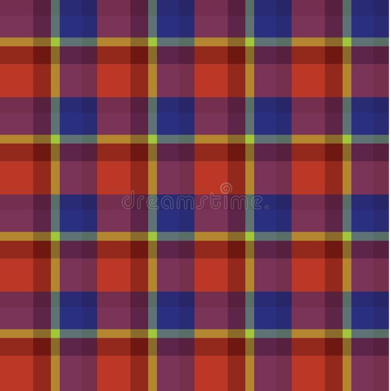 Rode blauwe gele van de achtergrond geruit Schots wollen stof Schotse plaid patroonvector vector illustratie