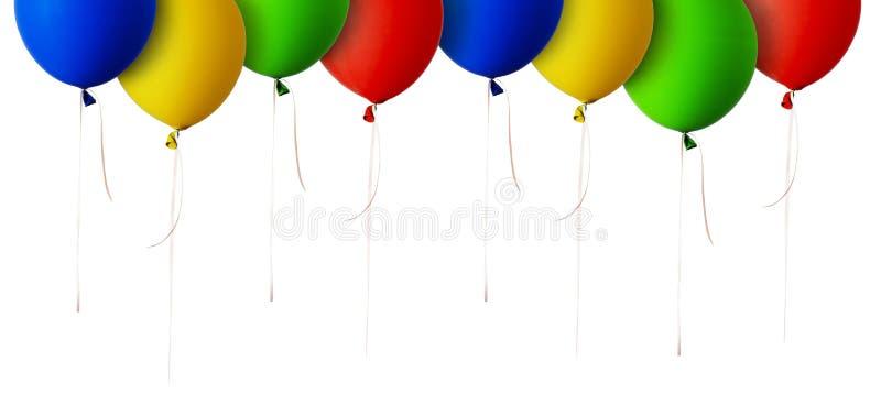 Rode, blauwe, groene en gele ballonsgrens royalty-vrije stock afbeeldingen