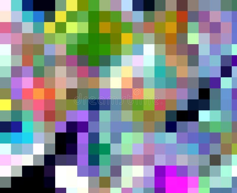 Rode blauwe oranje roze fosforescerende vierkantenkleuren, meetkundelichten, abstracte achtergrond vector illustratie