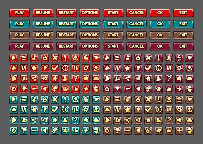 Rode, blauwe, purpere en bruine knopen voor het creëren van videospelletjes Reeks Negen royalty-vrije illustratie