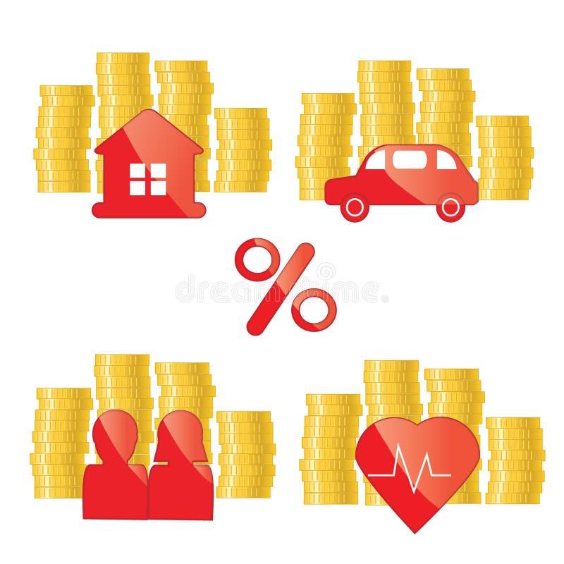 Rode blikpictogrammen met gouden muntstukken Investerend, beleggend, financieringskrediet, de illustratie van het onroerende goed vector illustratie