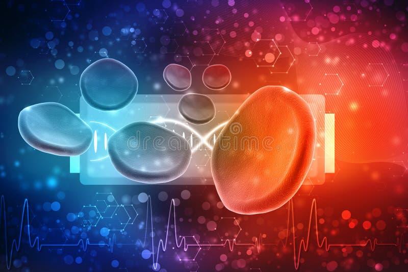 Rode bloedcellen op medische achtergrond 3d geef terug stock illustratie