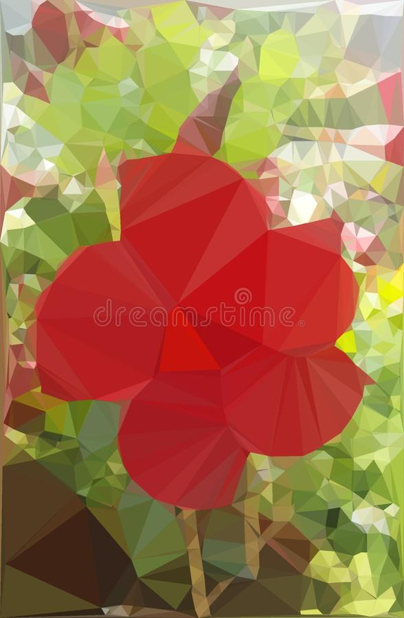 Rode bloem met samenvatting teme Digitaal art royalty-vrije stock afbeeldingen