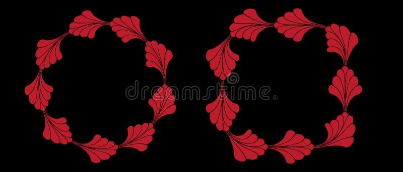Rode Bloemen of de Grens Vastgestelde Inzameling van het Bloemkader vector illustratie