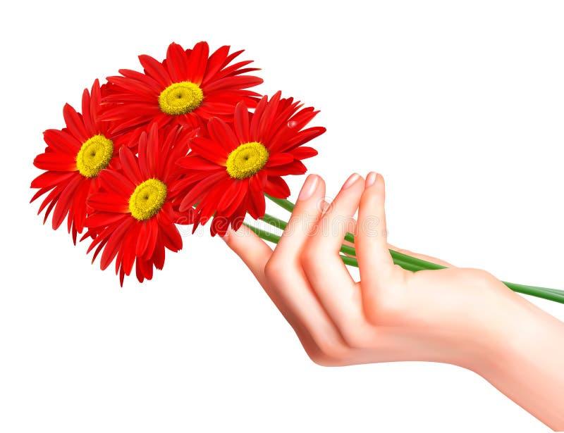 Rode bloemen in een hand. Vector. vector illustratie
