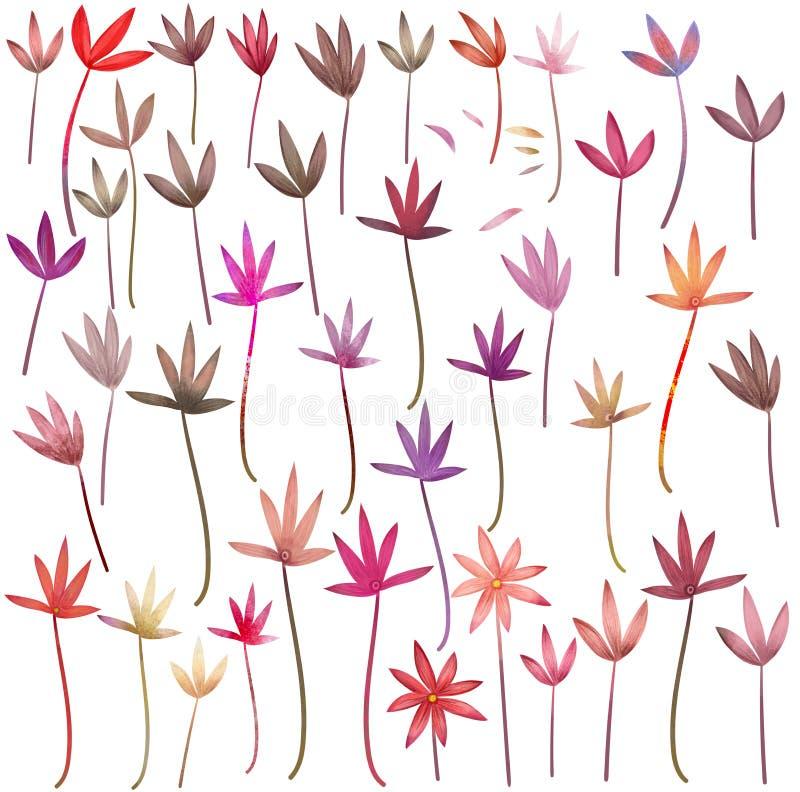 Rode bloemen en installaties klem-kunst