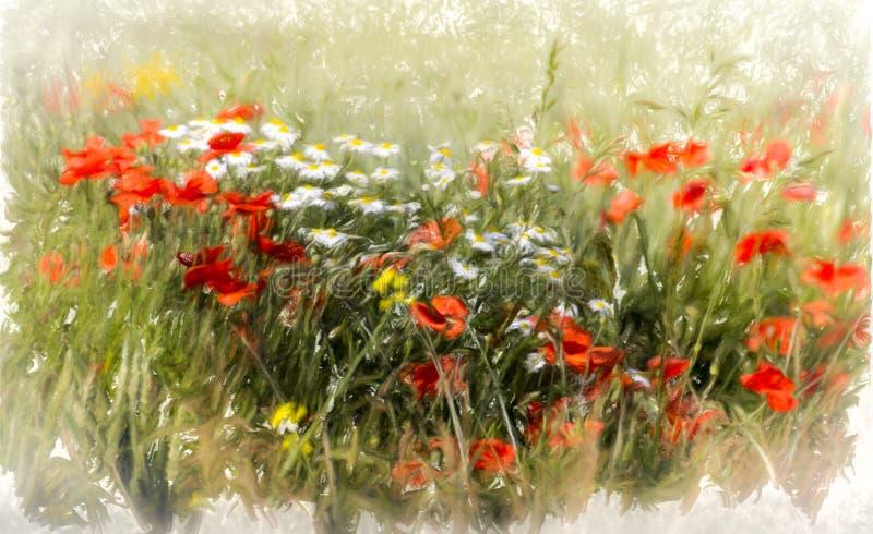 Rode bloemen, groen gras