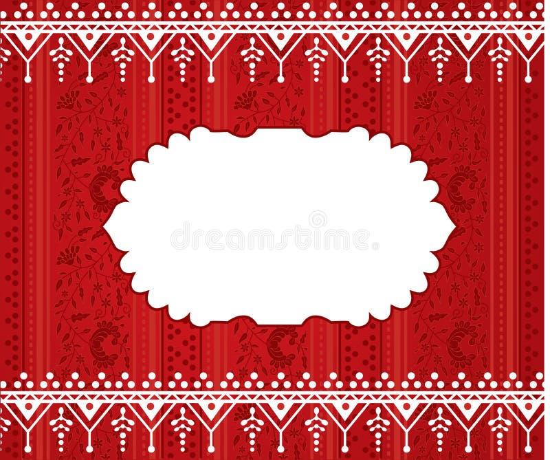Rode bloemen Indische hennabanner vector illustratie