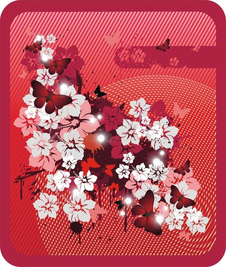 Rode bloemenachtergrond vector illustratie