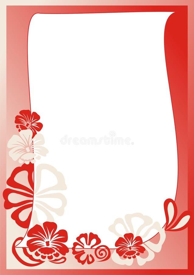 Rode bloemenkaart stock afbeelding