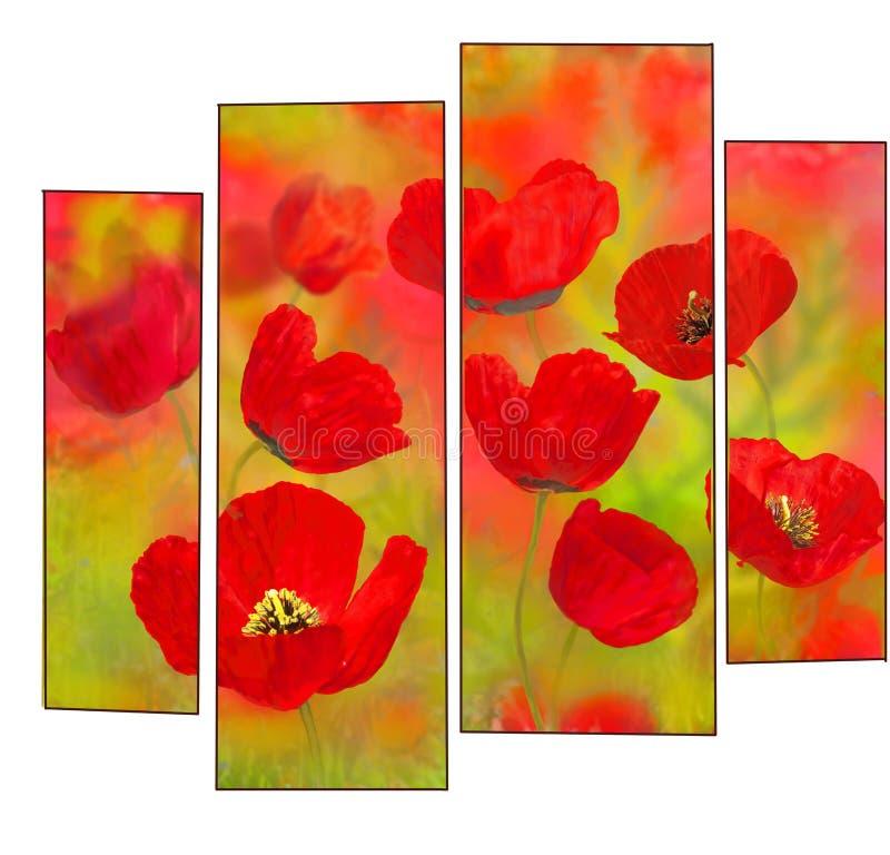 Rode bloemenpapavers stock illustratie
