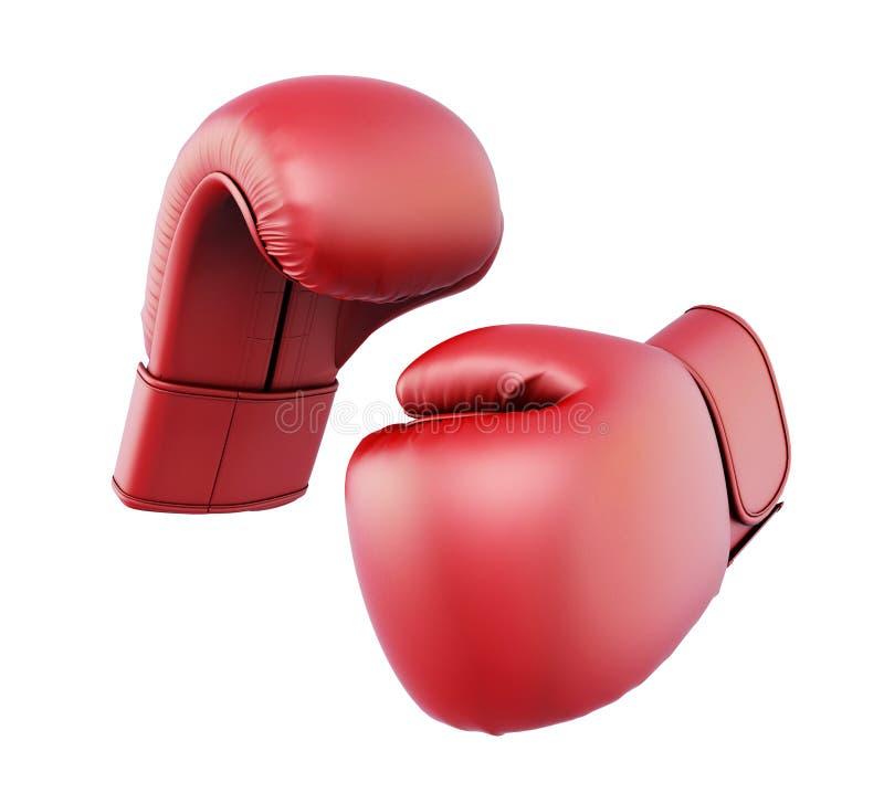 Rode bokshandschoenen die op witte achtergrond worden geïsoleerd stock illustratie