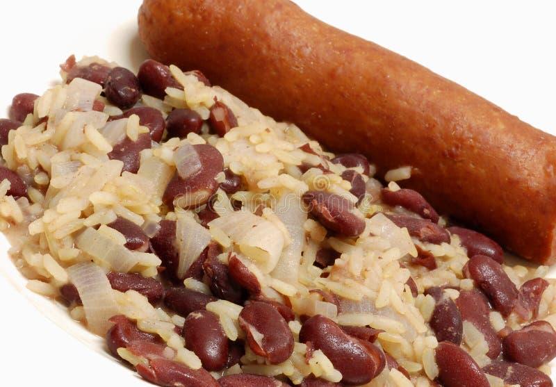 Rode bonen en rijst stock afbeelding