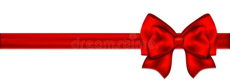 Rode boog met lint op een witte achtergrond stock illustratie